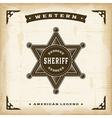 Vintage western sheriff badge vector