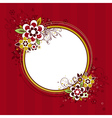 Circle frame with flowers on red background vector