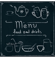 Hand drawn restaurant menu design on blackboard vector