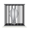 Dark light bulb in a cage vector