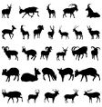 Deer and goats silhouettes set vector
