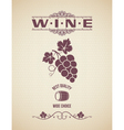 Wine vintage grapes label background vector