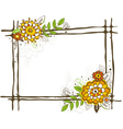 Hand draw frame with flowers on white background vector