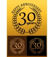 30 years anniversary signs with laurel wreaths vector