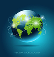 Modern globe network blue background vector