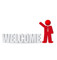 Business man people and word welcome vector