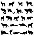 Wolves and martens silhouettes set vector