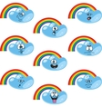 Weather cartoon rainbow set vector