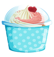 A dotted blue cupcake container vector