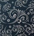 Seamless flowers wallpaper vintage black vector