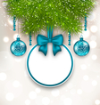 Christmas gift card with glass balls - vector