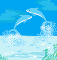 Two dolphins jumping out of water vector