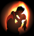 Passionate young couple over fire light vector