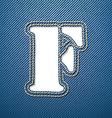 Denim jeans letter f vector