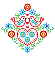 Folk art floral pattern with birds vector