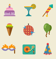 Party color icon set vector