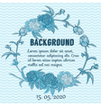 Round floral retro frame vector