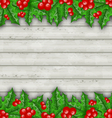 Christmas decoration holly berry branches on vector