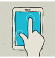 Abstract hand touching tablet vector