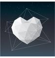 White geometrical heart background vector