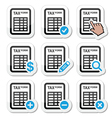 Tax form taxation finance icons set vector