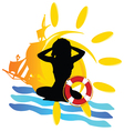 Sun with girl silhouette vector