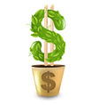 Gold pot with dollar vector