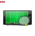 Mobile phone with tennis ball racket and field on vector
