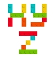 Alphabet set made of toy construction brick vector