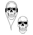 Danger human skull in headphones vector
