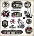 Rock music stamps and labels vector