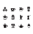 Silhouette coffee industry signs and icons vector