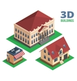 Isometric house store and building designs vector