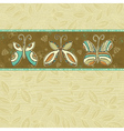 Hand draw butterflies on beige squares background vector