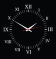 Clock on black background vector