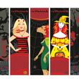 Halloween banner girl witch set vertical vector