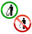 No littering triangle signs vector
