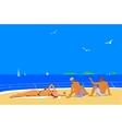 Young people sunbathing on sea vector