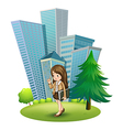 A woman near the pine tree across the tall vector