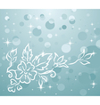 Of winter background with floral branch - vector