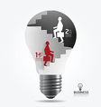 Businessman up the ladder paper light bulb vector