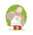 Monk chef cook tasting food vector
