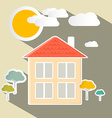 House and trees paper vector