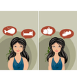 Thick and slim women vector