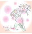 Pink background with freesia vector