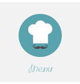 Big chef hat and mustache in the circle menu icon vector