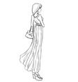 Beautiful girl in long elegant dress vector