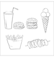 Hand drawn fast food doodles vector