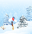 Christmas greetings and winter landscape vector