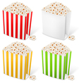 Popcorn in multicolored striped packages vector